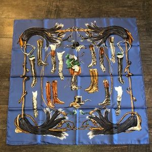 Never worn/used authentic Hermès silk blue scarf